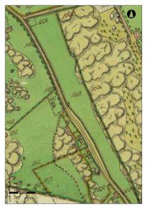En karta från år 1800, med vägar, byggnader och tomter
