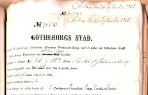 Bild på ett försäkringsbrev för Johannebergs landeri, inlämnat 1861