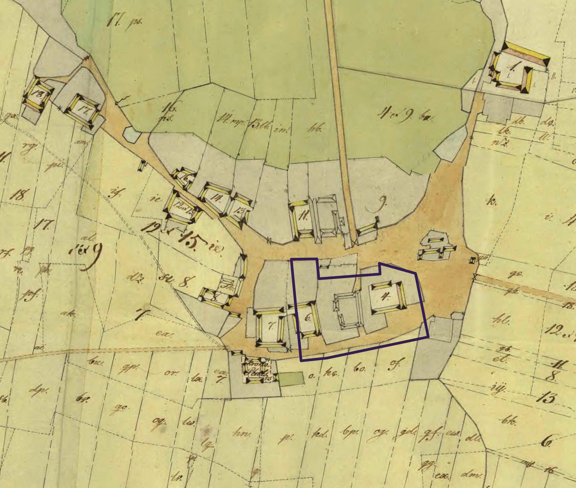 Öllsjö gårdar. Karta från 1803.