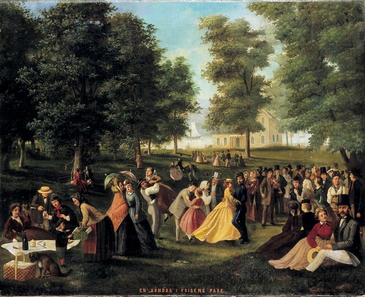"""Bilden visar en målning """"En söndag i Frisens park"""" av Frans Wilhelm Laurin, 1868. Från Stockholms stadsmuseum"""