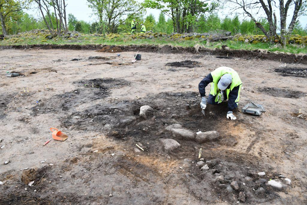 Ett komplex av härdar och gropar undersöks. Foto: Krister Kám Tayanin, Arkeologerna