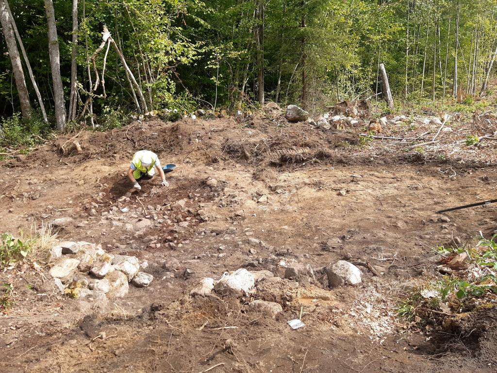 En arkeolog sitter på knä på en schaktad yta och finrensar en stenläggning. I bakgrunden finns lövskog.